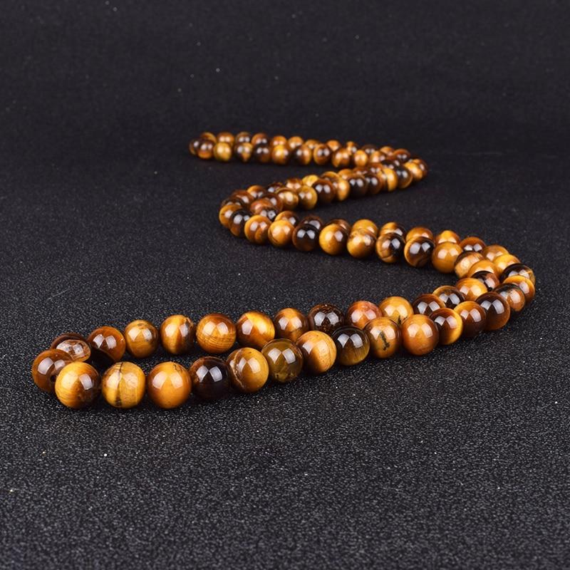 Fashion Tiger Eye Stone Beaded Necklaces Men Meditation Yoga Natural Stone Necklaces