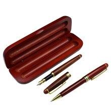 Деревянный стационарный набор шариковая ручка и авторучка пенал