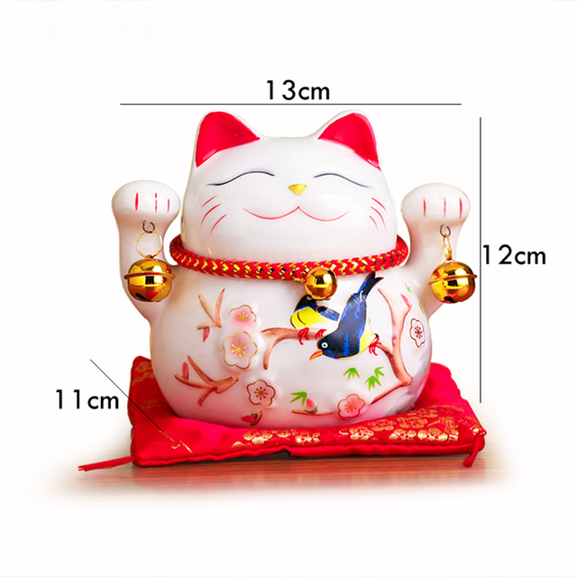 5 inch Maneki Neko Lucky Cat Ornament Ceramic Fortune Cat Statue Home Decorative Gift Feng Shui Beckoning Cat Piggy Bank 3