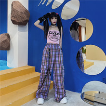 QWEEK Punk Harajuku Checkered Pants Women Goth Hippie Plaid Trousers Hip Hop Wide Cargo Pants Indie y2k Aesthetic 2000s Korean