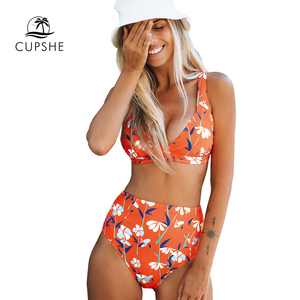 Image 3 - Cupshe Arancione Floreale a Vita Alta Bikini Set Sexy Coppe Imbottite Costume da Bagno a Due Pezzi Costumi da Bagno Delle Donne 2020 Costumi da Bagno Sulla Spiaggia