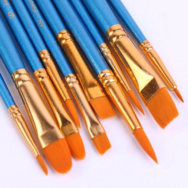 Big SaleÜHair-Combination-Brush-Set Watercolor Nylon Craft-Supplies Blue Paint 10pcs/Set Pearlescent
