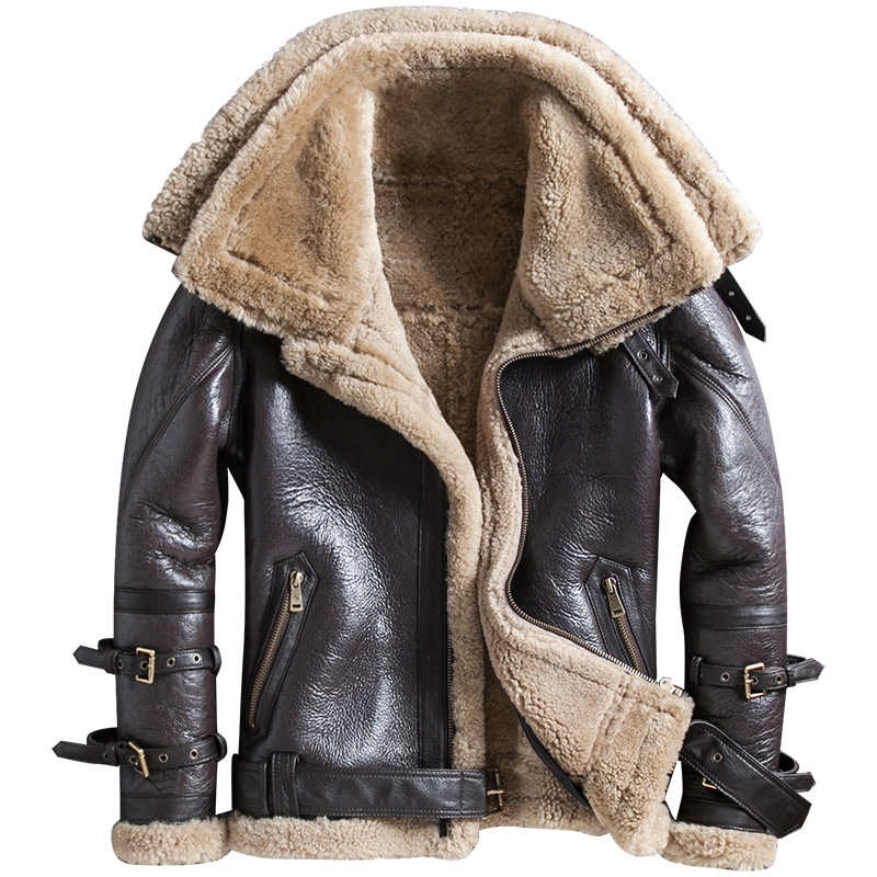 New Winter Thicker Fur One Genuine Leather Coat Men's Double Collar Sheepskin Leather Jacket Locomotive Fur Male Air Force Suit