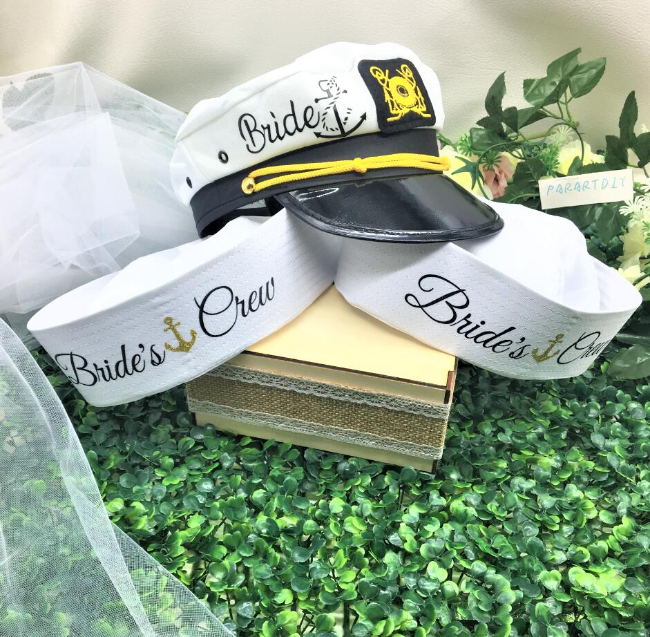 Custom Nautical Sailor Hats, Wedding Bridesmaid Bride Marina Captain Hats With Hats, Cruise Bachelorette Birthday CAPS