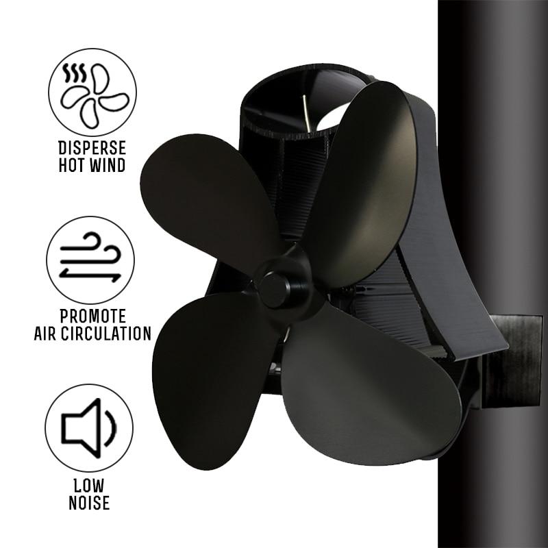 Wall Mounted Type 4 Blade Heat Powered Stove Fan Log Wood Burner Eco Quiet Home Fireplace Fan Fuel Heat Saving Distribution