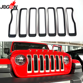 7pcs Carbon Fiber Look ABS For Jeep Wrangler JL 2018 2019 Car Styling Front Center Grill Net Grille Cover Trim Accessories