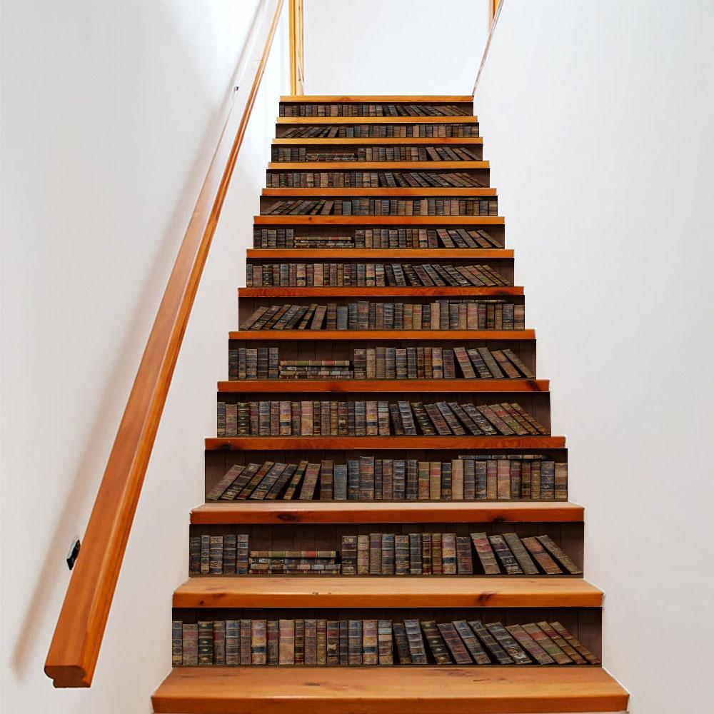 Autocollants de bibliothèque d'escaliers de pièce | 13 pièces/ensemble autocollant mural de plancher de scène, papier peint pelant et bâton, pour décoration d'escaliers de salle