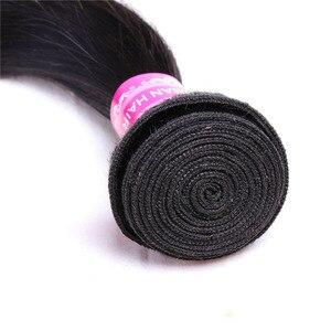 Image 4 - ストレートバンドルによる閉鎖 Meches Humaines Cheveux ペルー髪 3 バンドルと閉鎖 1/2 個レミーヘアエクステ