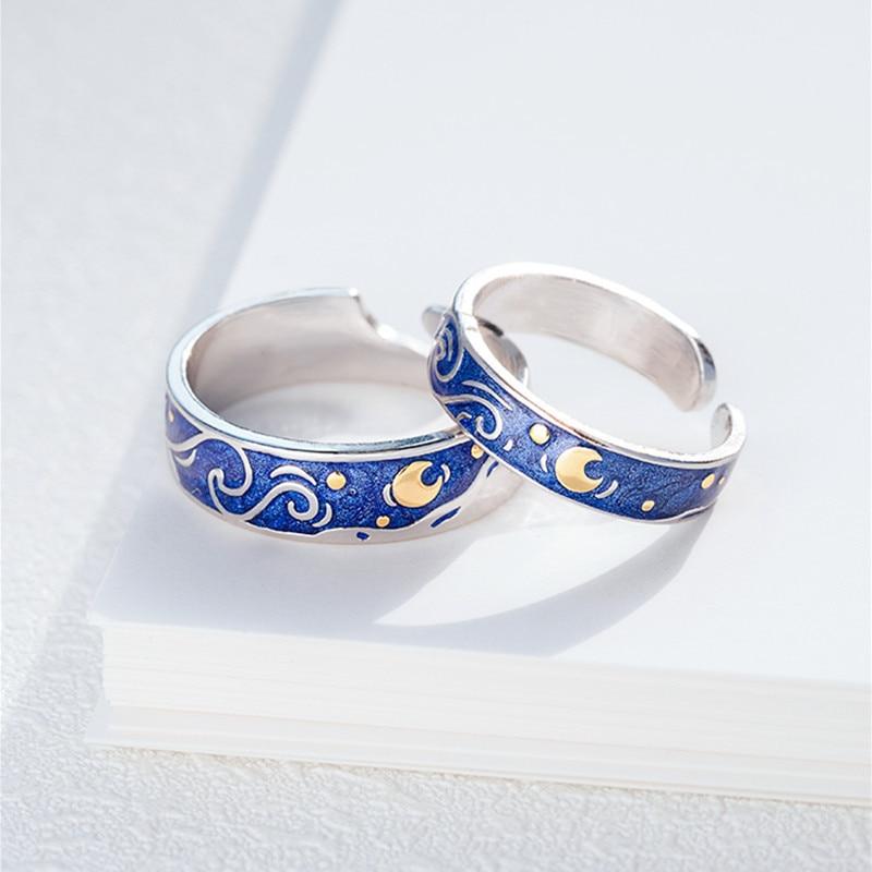 lightweight adjustable so fits every finger Van Gogh starry night design handmade copper ring soft
