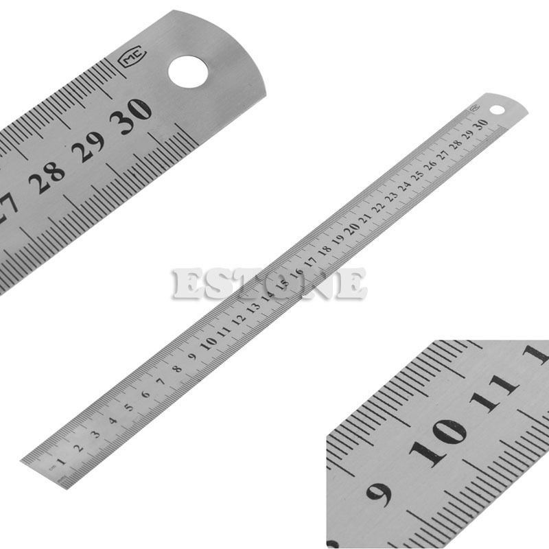 "30CM 12""Steel Stainless Pocket Pouch Metric Metal Ruler Measurement Double Sided"