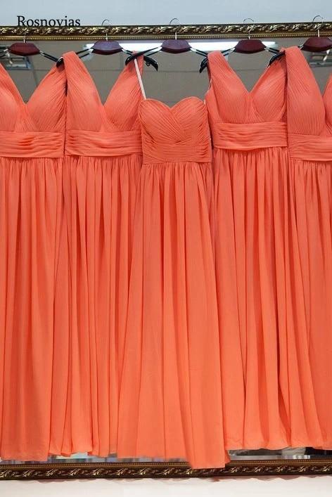 Orange Chiffon Bridesmaids Dresses 2020 V Neck Floor Length Beach Boho Simple Wedding Guest Gowns Vestido De Casamento Custom
