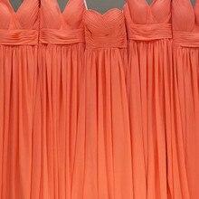 Orange Chiffon Bridesmaids Dresses 2020 V Neck Floor Length