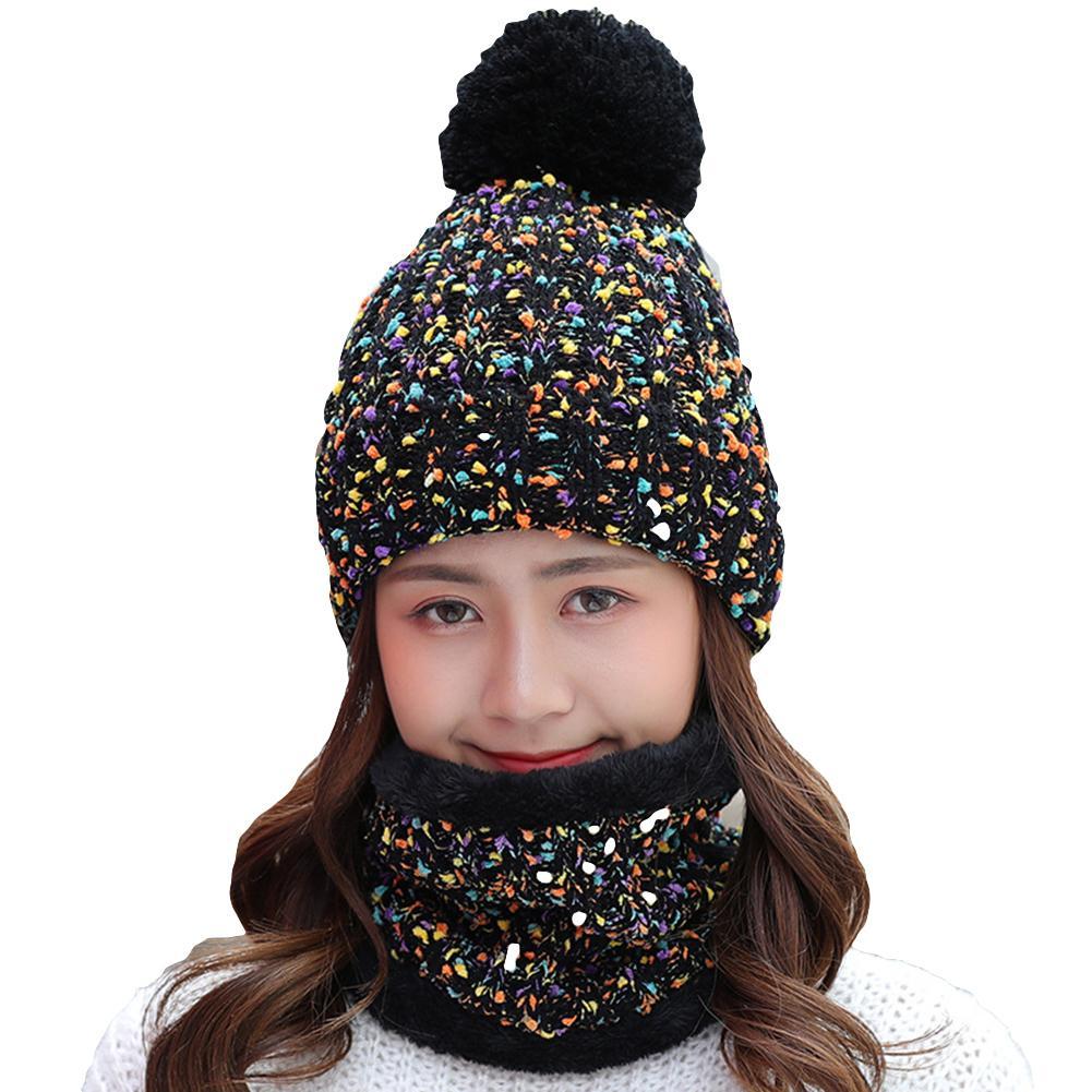 2019 Hot Sale 2Pcs Winter Women Knitted Pompom Beanie Hat Thick Warm Skull Cap Bib Scarf Set