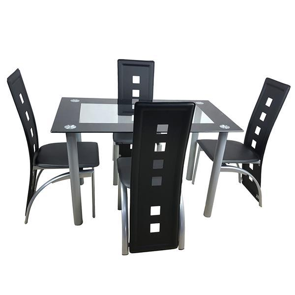 Tempered Glass Dining Table with Chairs  6