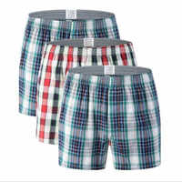 Short en coton homme Plaid taille moyenne sous-vêtements grande taille pantalon coton hommes boxer homme boxeurs homem boxershort