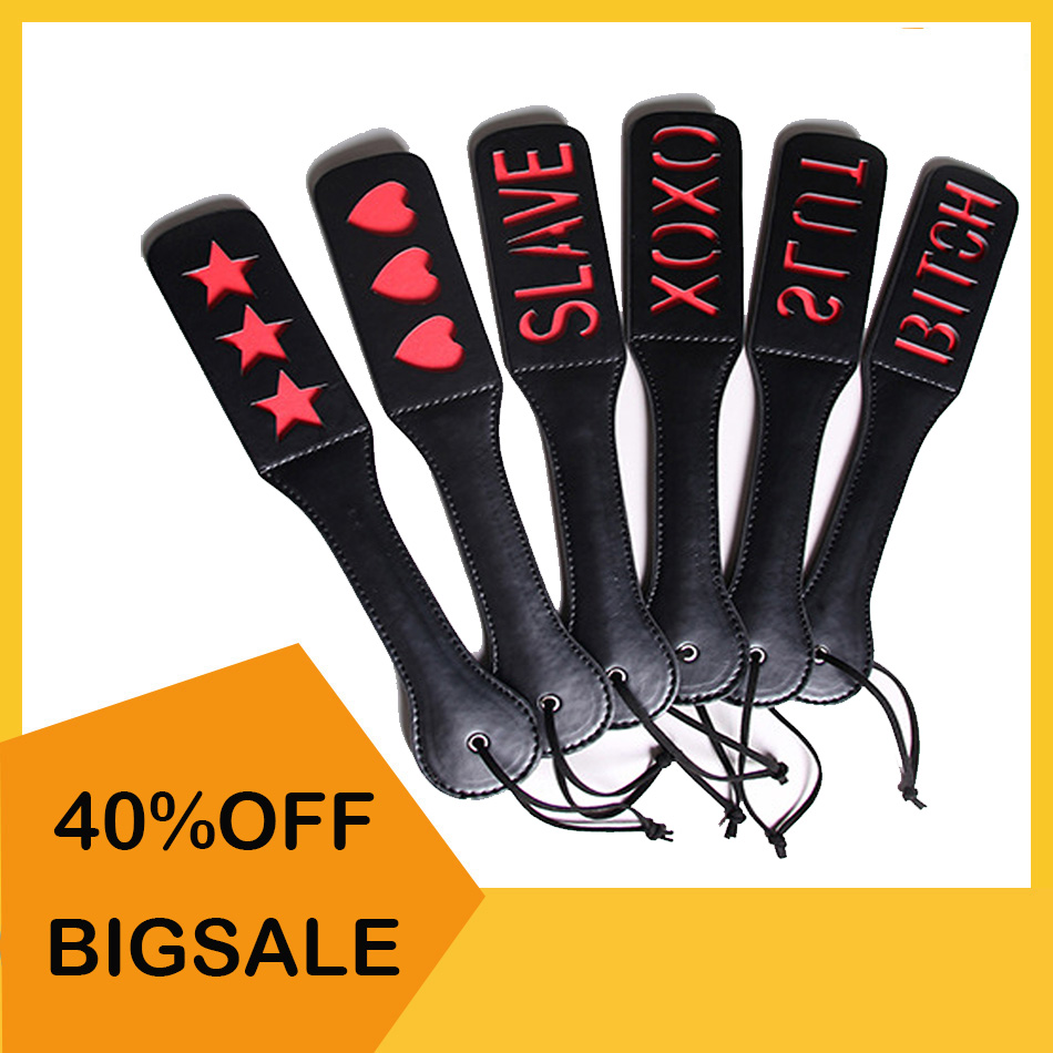 Women Men Adult PU Leather Spank Paddle Submissive Fetish SM Flog Beat Whip Adult Sex Toys Spanking Paddle