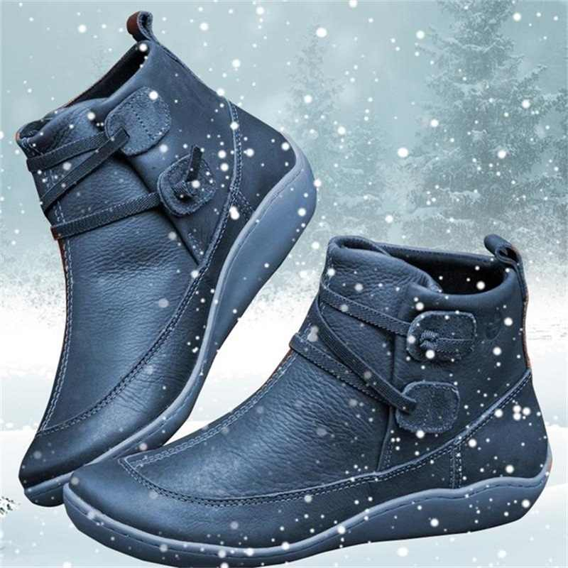Women PU Leather Ankle Boots Winter Snow Boots Autumn Flat Shoes Ladies Shoes Short Plush Cross Strap Vintage Punk Mujer Botas