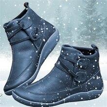 Kobiety PU skórzane botki zimowe śnieg buty jesień płaskie buty damskie buty krótki pluszowy pasek krzyżowy Vintage Punk Mujer Botas