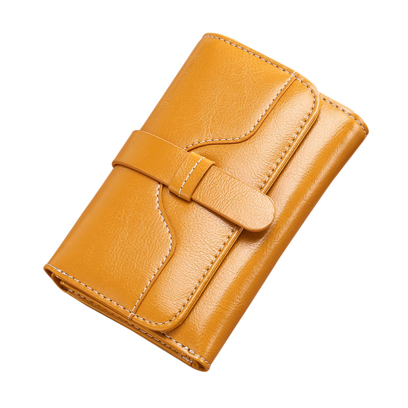 Vintage Women Wallets Leather Luxury Designer Solid Short Trifold Coin Purse Credit Card Holder Ladies Cowhide Clutch Money Bags