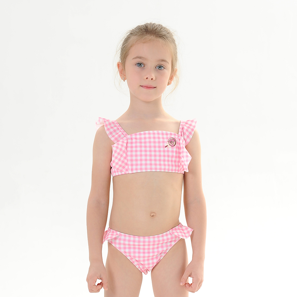2020 New Baby Girl's Bikini Set Classic Geometric Swimsuit  Lollipop Flounce Swimwear Little Girl  Adjustable Bathsuit