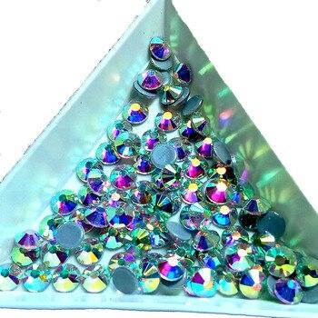 Diamantes de imitación de alta calidad, Cristal AB transparente, superbrillante, parte trasera plana, diamantes de imitación para pegar en caliente, decoraciones para ropa