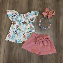 Bambini Del Bambino di Estate Delle Ragazze Abiti Dusty Rosa Blu Floreale Shorts di Cotone Boutique di Seta Del Latte Vestiti per Bambini Set Partita Accessori