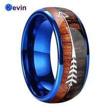 Синяя Обручальная лента вольфрамовое свадебное кольцо купольная