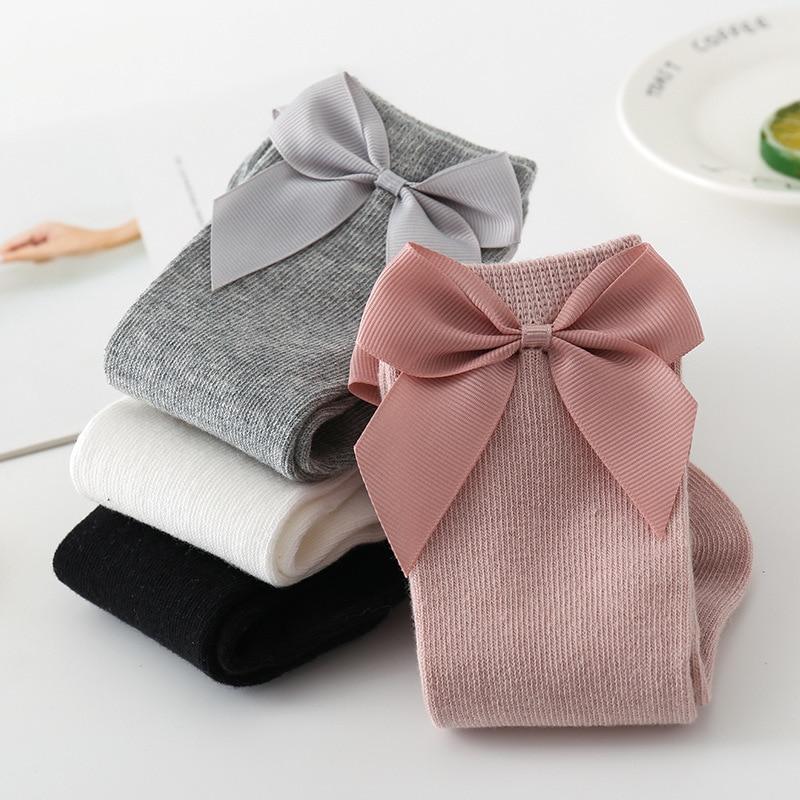2020 Baby Girls Socks New Toddlers Girl Big Bow Knee High Long Soft Kids Socks Bowknot 100% Cotton 0-3 Years Newborn Socks 2