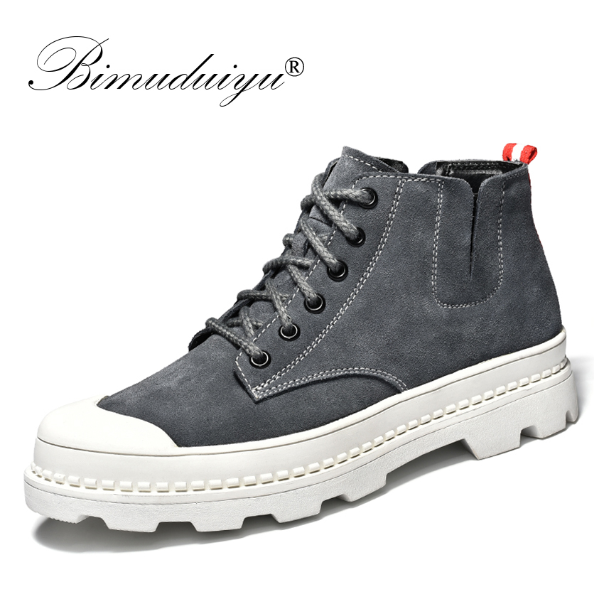BIMUDUIYU Genuine Leather Men's Boots Warm Winter Ankle Boots Fashion With Fur Snow Boots For Men Sneakers Shoes Male