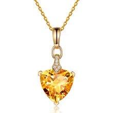 Collier avec pendentif cœur en cristal Citrine, améthyste et aigue-marine, bijoux en diamant pour femmes et filles, 3 couleurs, or rose, cadeau de fiançailles