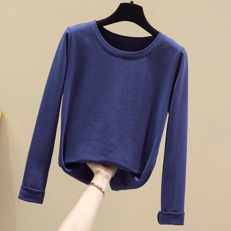 Женская однотонная хлопковая футболка с длинными рукавами синяя