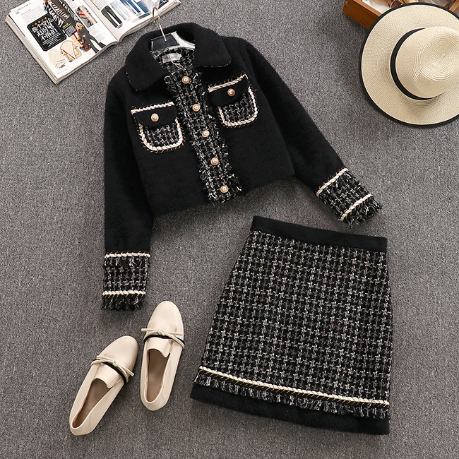 6 Style Office Ladies 2 Piece Set Outfit Short Jacket and A Line Skirt Womens casual fashion Tweed Skirts Suits