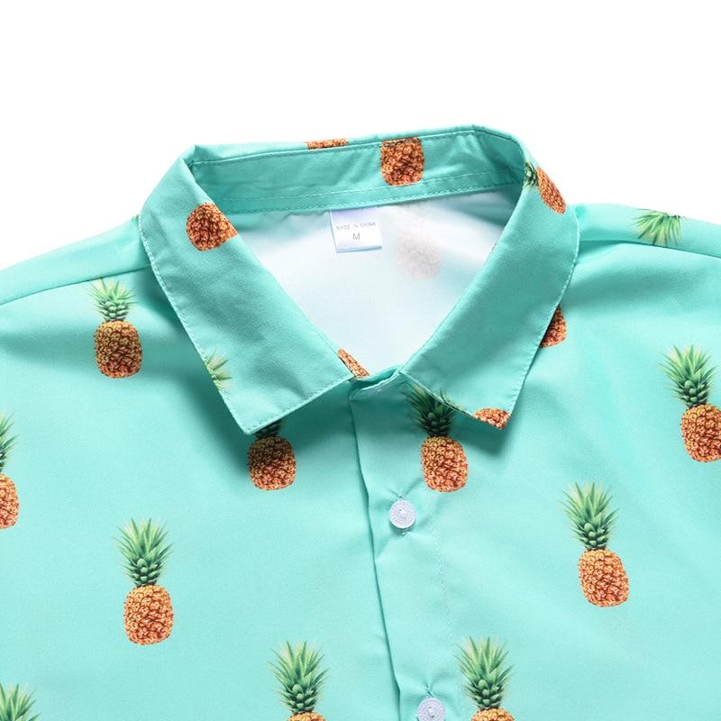 2020 Holiday Hawaiian shirt Men New Fashion Casual Beach Seaside Summer Shirts For Men Fruit Pineapple Print Blouse Top Clothes 6