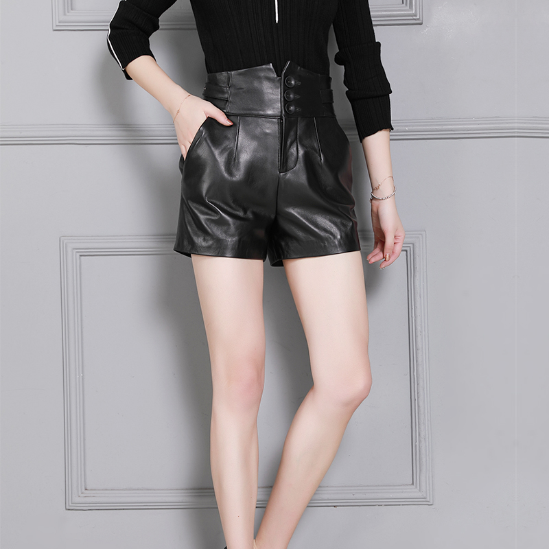 Top Quality Women Genuine Leather Sheepskin Shorts Slim Fit Drawstring Solid Black High Waist Streetweat Sashes Female Shorts