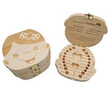 Storage-Box Tooth-Organizer Gifts Wooden Spanish Milk-Teeth Italian French Baby Kids