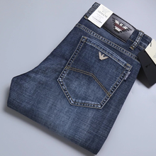 Verão calças de brim masculinas finas algodão elástico fino itália águia marca moda calças de negócios estilo clássico primavera jeans calças de brim