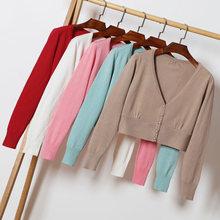 Осень 2020 Укороченный кардиган вязаный свитер с v образным