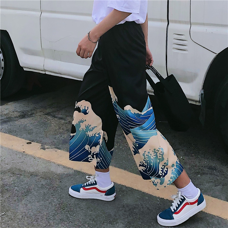 Japanese Harajuku Style Pants For Men Women Ulzzang Korean Trousers Streetwear Loose Wide Leg Vintage Wave Aesthetic Mid Long