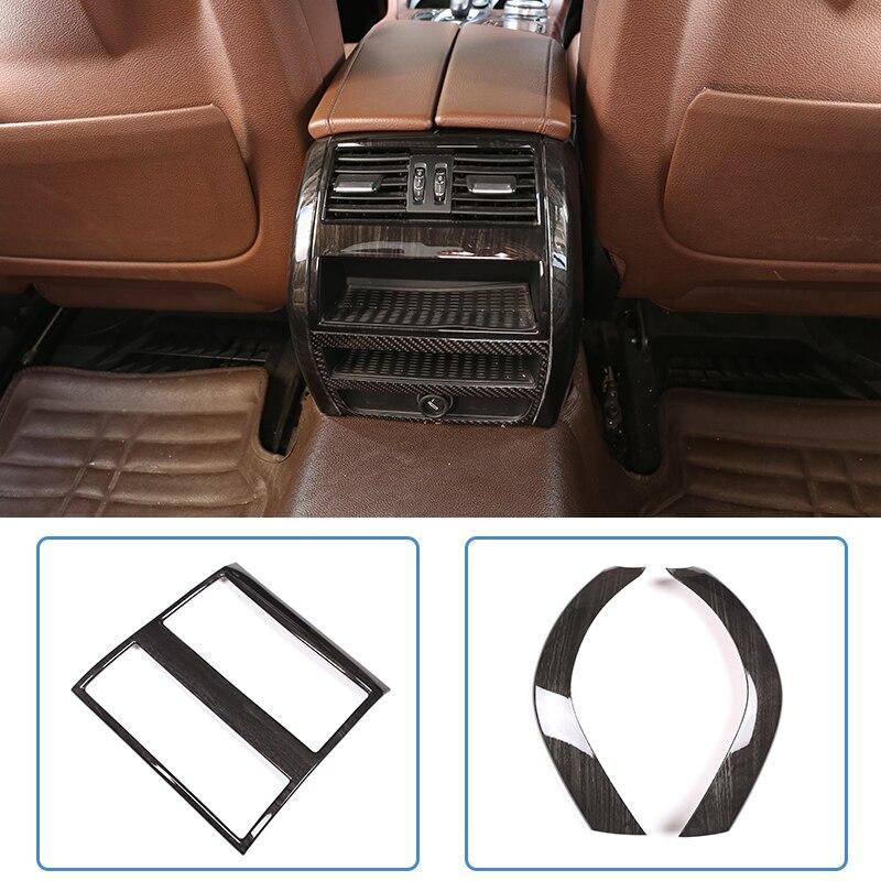 Черное дерево зерна для BMW 5 серии F10 2011 2017 ABS вентилятор заднего кондиционера рамка отделка