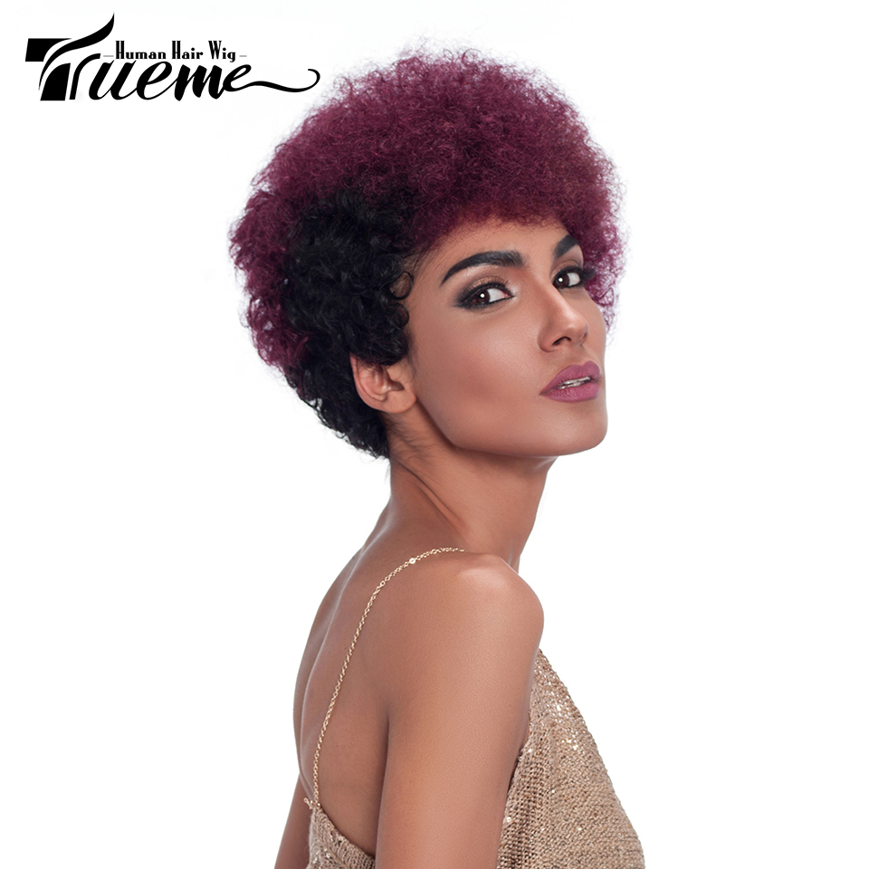 Trueme Mix Color Afro Wig Brazilian Remy Human Hair Short Afro Wigs For Black Women Full Fashion Wig