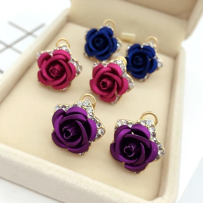 Cercei cu flori din aur roz Culoare floare Roșu Albastru Purpuriu CZ - Bijuterii de moda - Fotografie 3