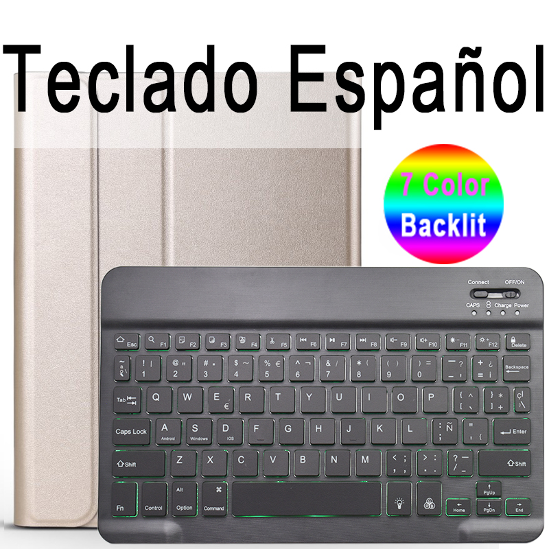 Spanish Keyboard Khaki For iPad 10 2 2019 7 7th 8th Generation A2200 A2198 A2197 Case with Backlit Keyboard