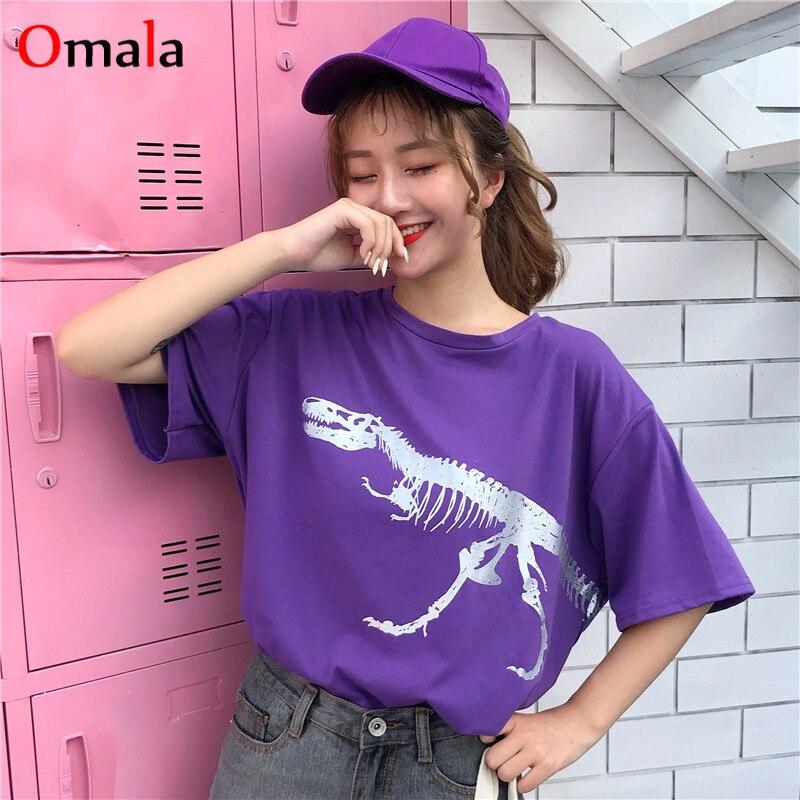 Korean Kawaii Purple Cartoon Tshirt Harajuku Outwear Women T Shirt Summer Thin Cotton Streetwear Loose Hippie Tee Shirt Clothing