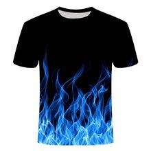 2021 new flame men's T-shirt summer fashion short-sleeved 3D round neck tops smoke element shirt trendy men's T-shirt
