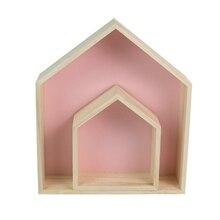 2 sztuk/zestaw półeczki na drobiazgi Nordic drewniany dom kształt półki dzieci salon sypialnia dekoracje ścienne Baby Shower dekoracje na domowe przyjęcie