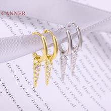 CANNER – boucles d'oreilles Triangle en argent et diamant pour femmes, S925, créoles pendantes, bijoux fins coréens, Joyero Aretes