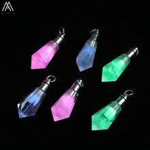 Pendentif en bouteille de parfum pour femme, collier en cristal, diffuseur dhuile essentielle, breloques veilleuse, LED Roses blanches naturelles