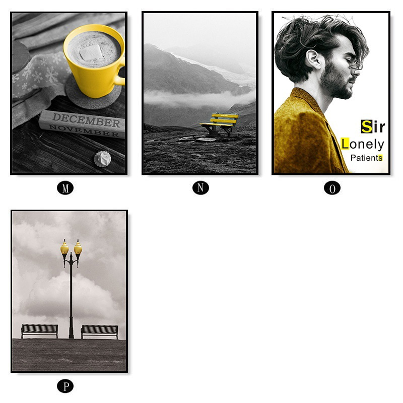 H0c84c9a637a34753b8fa56b124b974dez Black and White Photograph Landscape Picture Home Decor Nordic Canvas Painting Wall Art Yellow Scenery Art Print for Living Room
