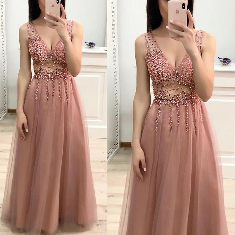SuperKimJo Dusty Pink Beaded   Prom     Dresses   Long 2020 V Neck Sleeveless Elegant A Line Sexy   Prom   Gown Robe De Soiree