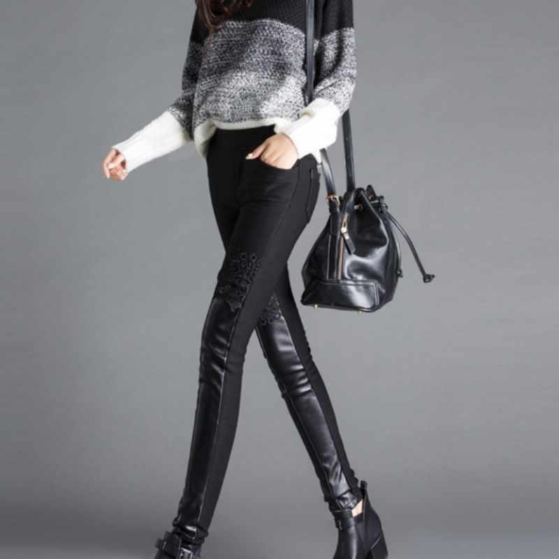 Kış yeni dantel siyah polar astar bayan Pu pantolon Slim Fit kadın pantolon seksi Calca De Couro Feminina artı boyutu pantalon